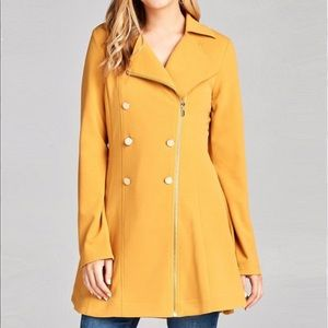 Jackets & Blazers - NEW Mustard Double breasted peacoat